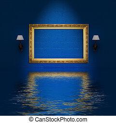 rosa, minimalista, cornice, blu, divano, interno,  Sconces, vuoto