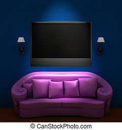 rosa, minimalista, tv, divano blu, lcd, interno, sconces