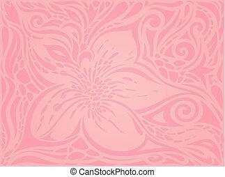 rosa, moda, carta da parati, floreale, vettore, disegno, fondo, matrimonio, trendy