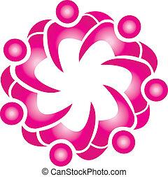 rosa, moda, fiore, lavoro squadra, v, logotipo