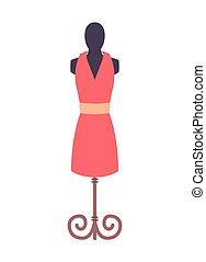 rosa, moda, illustrazione, vettore, indossatrice, vestire