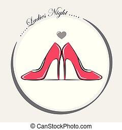 rosa, moda, scarpe, donne, alto tallone