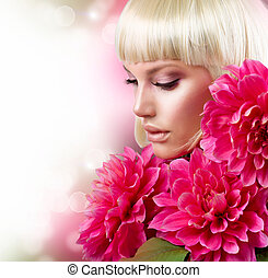 rosa, mode, Stor,  blond, flicka, Blomstrar