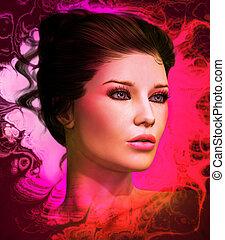 rosa, modell, mode