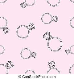 rosa, modello, diamante, ring.