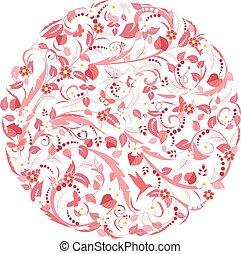rosa, modello, floreale, circolare