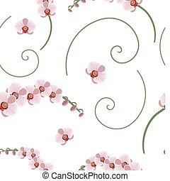 rosa, modello, seamless, orchidea