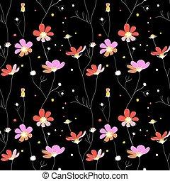 rosa, modello, seamless, sfondo nero, fiori