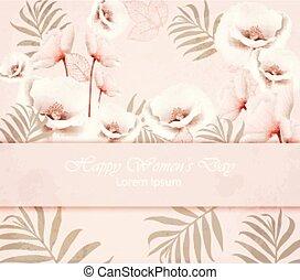 rosa, modello, sfondi, vettore, delicato, floreale, donne, giorno, scheda, felice