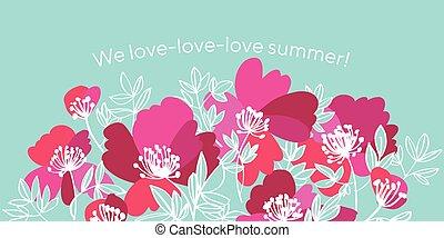 rosa, moderno, flores, elegante, peonía, estilo