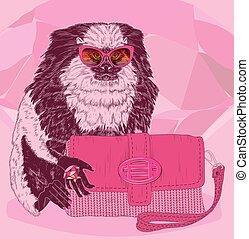 rosa, mono tití, encantador, moda, cartera