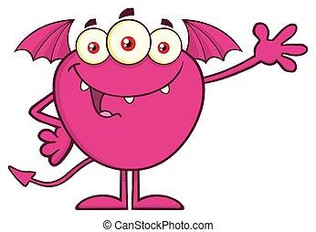 rosa, monster, zeichen, gruß, winkende , maskottchen, karikatur, glücklich