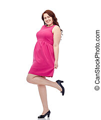 rosa, mujer, joven, más, posar, tamaño, vestido, feliz
