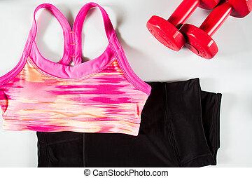 rosa, mujeres, deporte, sostén, negro, deporte, pantalones, y, rojo, dumbbell., deporte, uso, deporte, moda, deporte, accesorios, deporte, equipment.