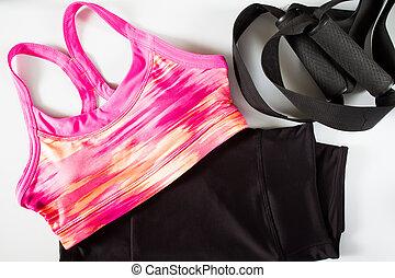 rosa, mujeres, deporte, sostén, negro, deporte, pants., deporte, uso, deporte, moda, deporte, accesorios, deporte, equipment.