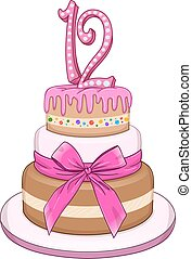 rosa, murciélago, 12, miztvah, torta de cumpleaños