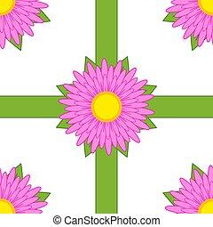 rosa, muster, blätter, seamless, grüner hintergrund, weisse blumen, bänder
