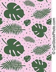 rosa, muster, blätter, seamless, vektor, grün