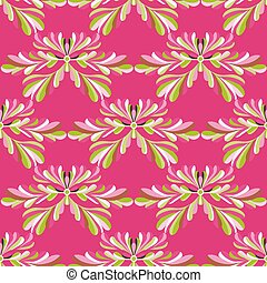 rosa, muster, seamless, blütenblätter , vektor, grüner hintergrund, blumen