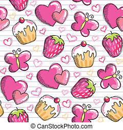 rosa, muster, seamless