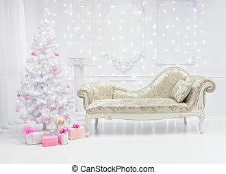 rosa, natale, stile, modanatura, luce, classico, albero, renaissance., divano, toni, interno, barocco, bianco