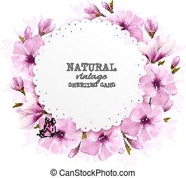 rosa, naturale, augurio, vector., fiori, scheda, butterfly.
