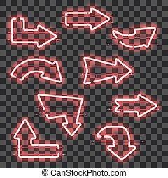 rosa, neón, encendido, conjunto, flechas