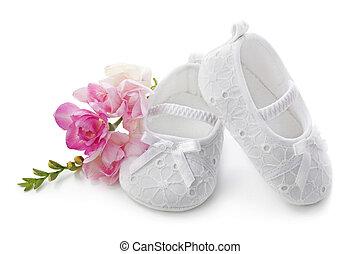 rosa, nena, flores, shoes