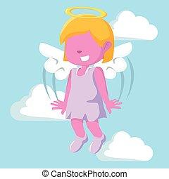rosa, niña, ángel, ilustración, diseño
