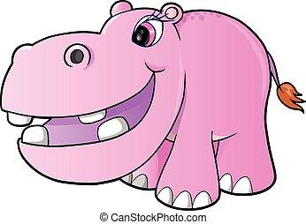 rosa, niña, vector, arte, hipopótamo