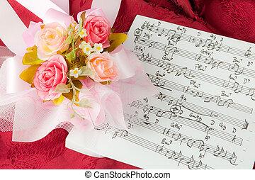 rosa, notas, musical