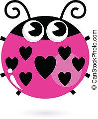 rosa, nyckelpiga, kärlek, isolerat, hjärtan, vit