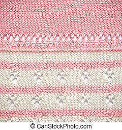 rosa, och, vit, rynka, tyg, struktur
