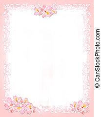 rosa, och, whiter, skrivpapper