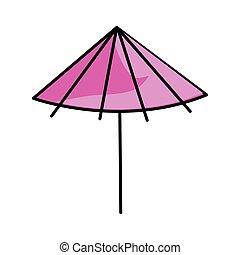 rosa, ombrello, cartone animato