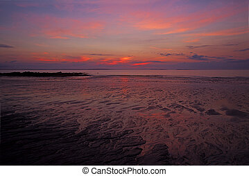 rosa, orange, sandstrand, sonnenaufgang