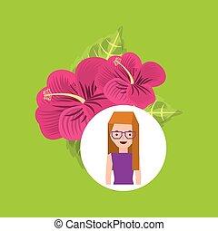 rosa, ornamentale, ragazza fiore, giglio, cartone animato
