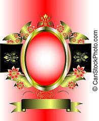 rosa, oro, marco, floral, plano de fondo, graduado