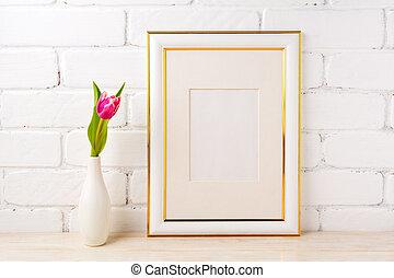 rosa, oro, mockup, cornice, tulipano, decorato, magenta