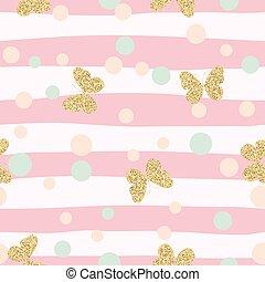rosa, oro, modello, seamless, fondo., farfalle, coriandoli,...