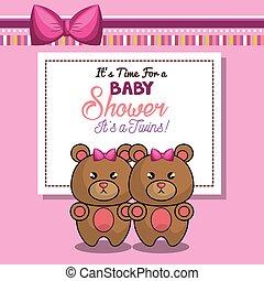 rosa, orso, doccia, gemelli, invito, ragazza bambino