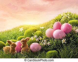 rosa, påsk eggar, och, kanin