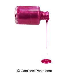 rosa, púrpura, esmalte uñas, fluir, el verter, -, aislado,...
