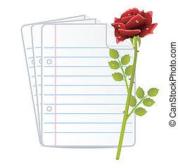 rosa, papel, folias, rojo