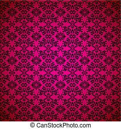 rosa, papel pintado, gótico, seamless