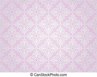 rosa, papel pintado, plata, y