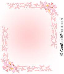 rosa, papelería, con, flores