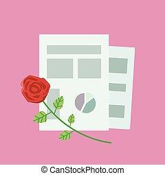 rosa, paperwith, ufficio, rosa, bac, fogli, composizione, rosso