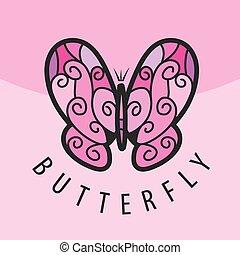 rosa, papillon, vektor, hintergrund, logo