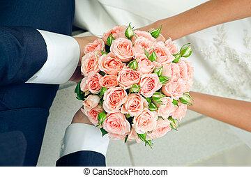 rosa, par, bouquet., mão, mãos, casório